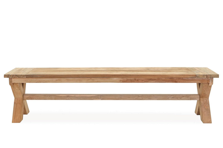 OUTFLEXX attraktive Sitzbank Bank in natur aus hochwertigem Teakholz, solides Scherengestell, 190 x 40 x 45 cm, Gartenbank, Holzbank für 2 Personen, witterungsbeständig, zeitloses Design, wetterfest