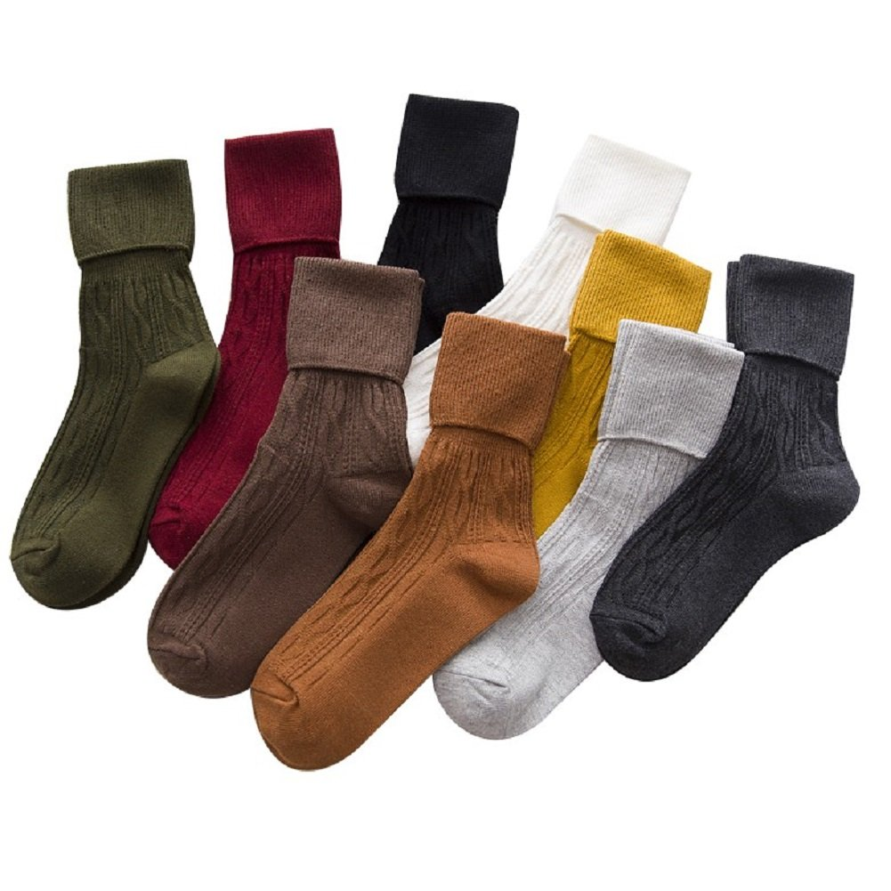 Sookiay 9 Pairs Women's Heap Socks Cotton Retro Style Casual Knit Soft Warm Pile Socks