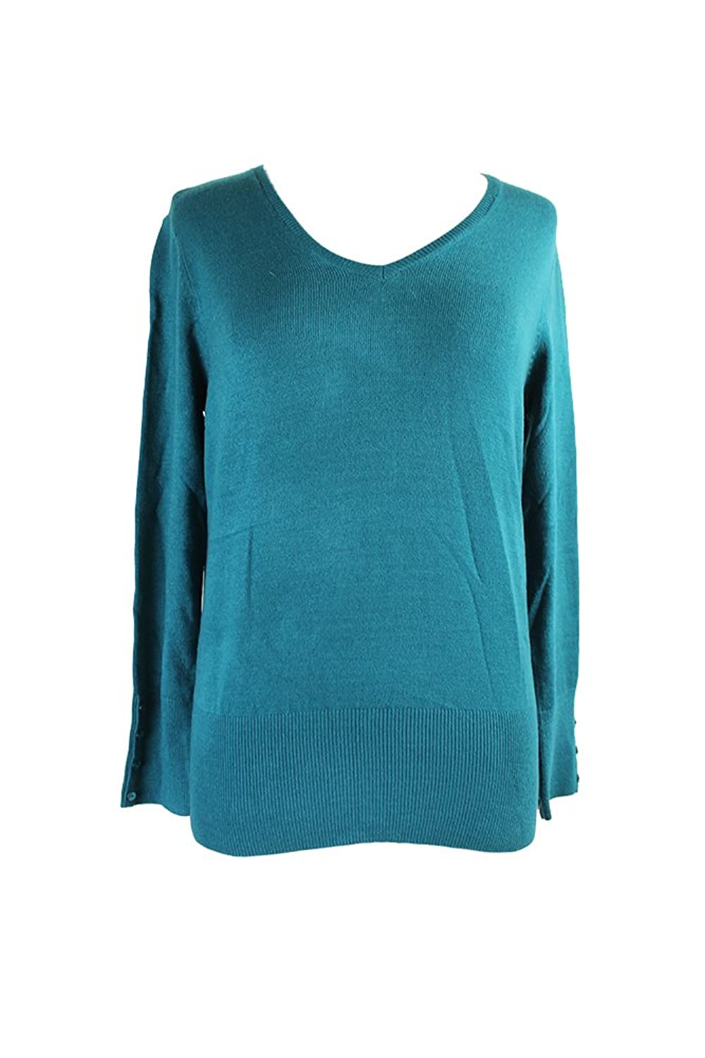 Jm Collection Teal Cozy V-Neck Sweater S