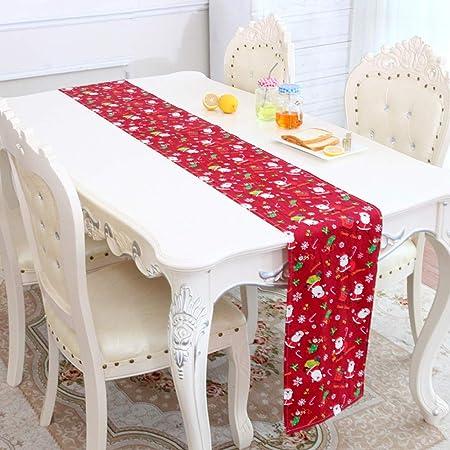 Amosfun Runner da tavola di Natale Fiocco di Neve Stelle Alce Tovaglia Decorativa in Poliestere Decorato per Feste rettangolari