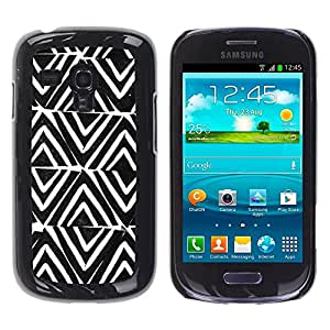FECELL CITY // Duro Aluminio Pegatina PC Caso decorativo Funda Carcasa de Protección para Samsung Galaxy S3 MINI NOT REGULAR! I8190 I8190N // Pattern White Black Pattern