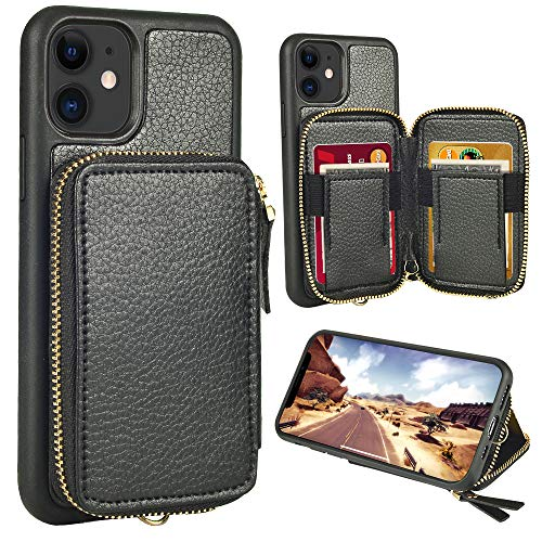 iPhone 11 Wallet Case,iPhone 11 case,ZVE iPhone 11 Zipper Wallet Leather Case with Credit Card Holder Slot Wrist Strap Handbag Purse Protective Case for Apple iPhone 11 6.1''2019 - Black (Best Black Credit Cards 2019)