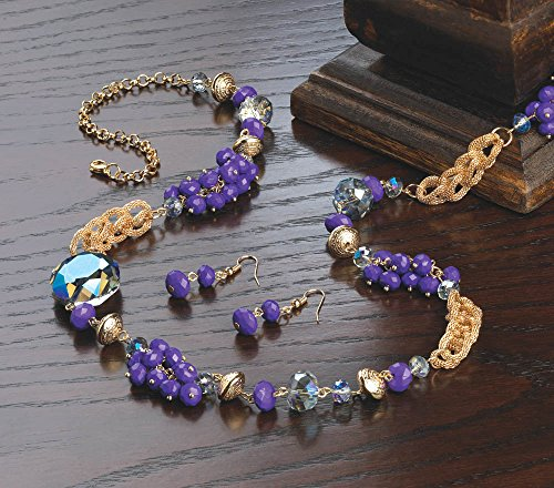 Breezy Couture Beaded Radiant Orchid Long Chain Necklace And Earrings ()