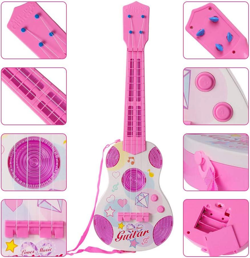 Juguete para niños instrumento educativo de Guitarra Excelente Regalo Para Navidad Rosa