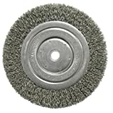Weiler 01125 6'' Narrow Crimped Wire Wheel, Short Trim.014, 5/8''-1/2'' A.H.
