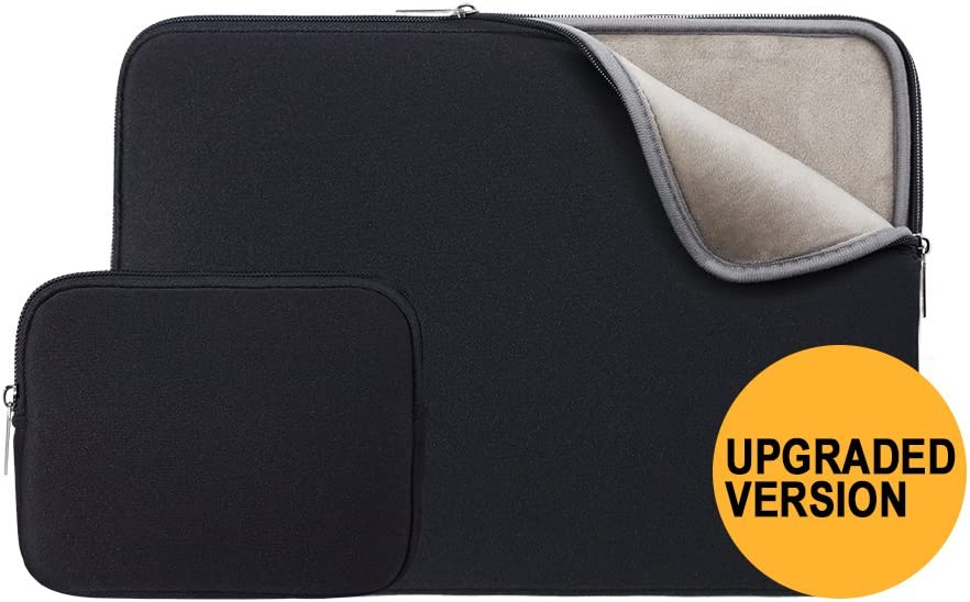 """RAINYEAR 14 Inch Laptop Sleeve Protective Case Soft Fluffy Lining Padded Zipper Cover Carrying Bag with Accessories Pouch,Compatible with 14"""" Notebook Computer Chromebook(Black,Upgraded Version)"""