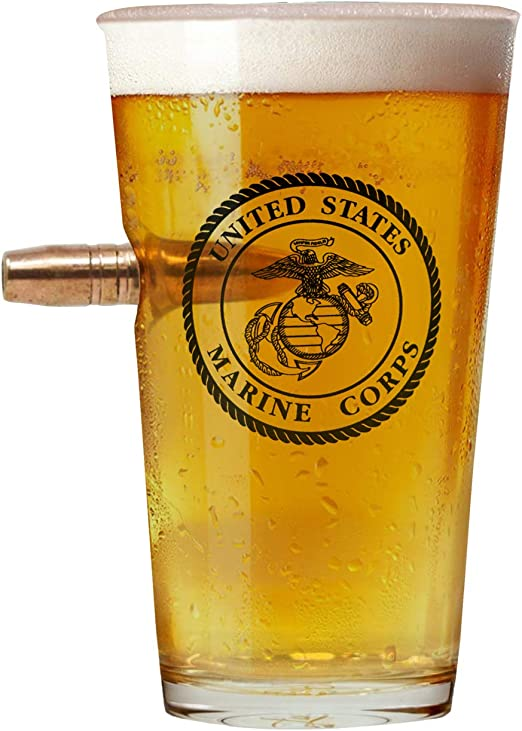 Officially Licensed United States Marine Corps Emblem Pint Glass