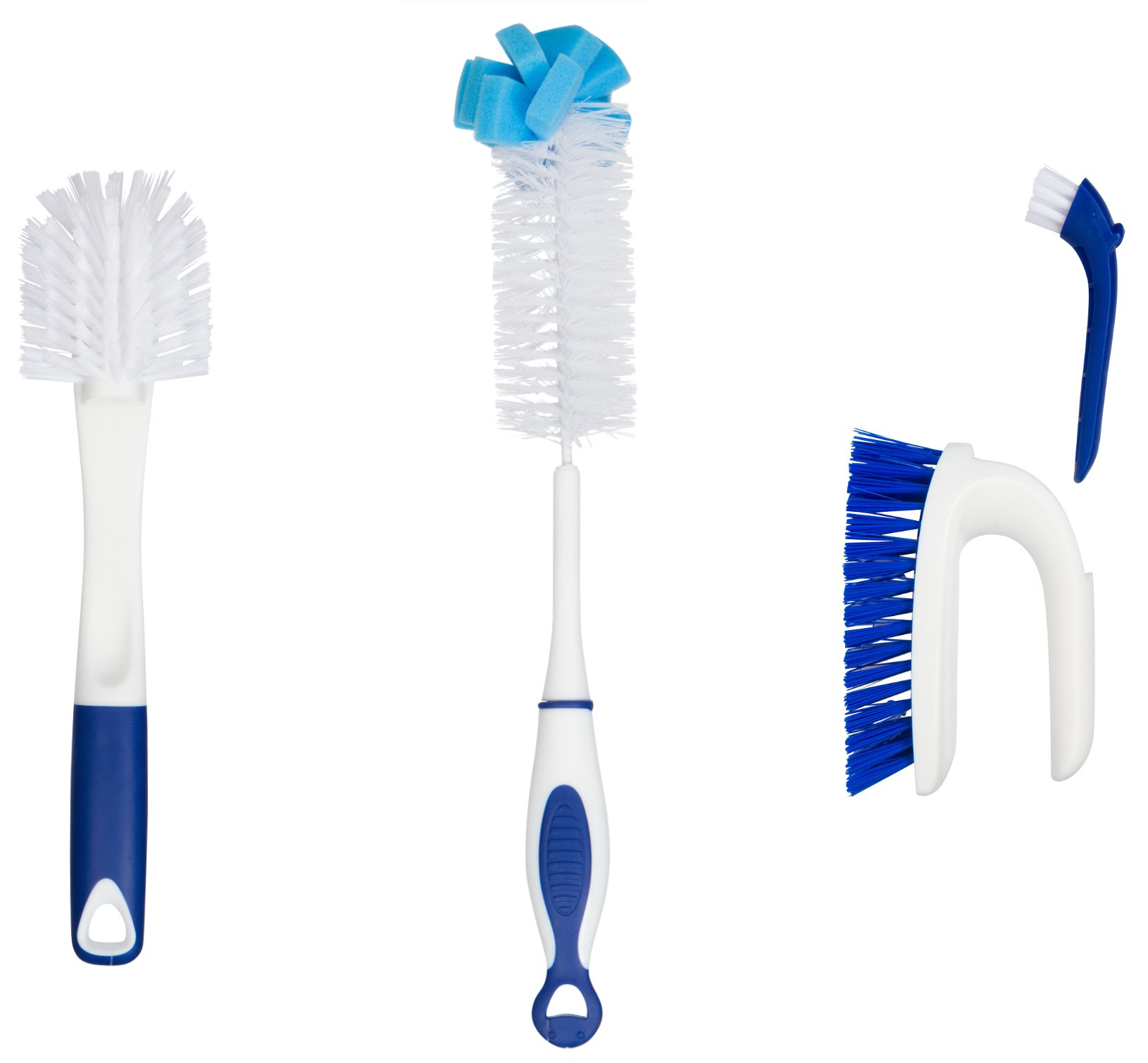 Kitchen Cleaning Tools Set – 3 Brushes Total – Bottle Brush – Pots and Pans Scrub and Scraper – 2 in 1 Sink and Surface Scrub Brush That Contains A Mini Detail Brush 61xCES9HUlL