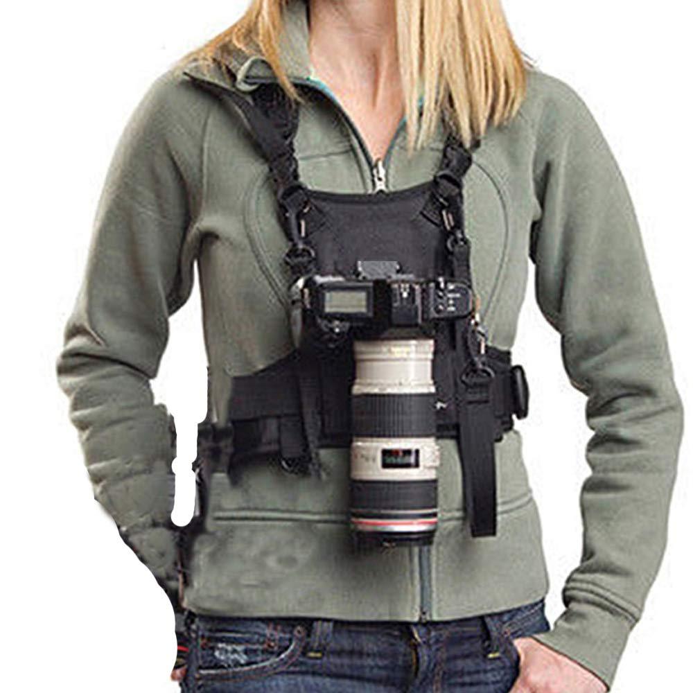 Nicama Camera Strap Carrier Chest Harness Vest with Mounting Hubs & Backup Safety Straps for Hiking Canon 6D 5D2 5D3 Nikon D800 D810 Sony A7S A7R A7S2 Sigma Olympus DSLR Cameras by Nicama