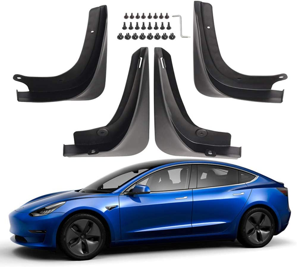 ASAKA Full Protection Mud Flaps Fender Splash Guards for Tesla Model 3 Accessories Set of 4