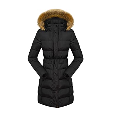 cddf80ca068df6 Jasuma Damen Daunenjacke Lange Wintermantel mit Abnehmbare Kapuze Warm  Gefüttert Steppjacke J33335 Schwarz: Amazon.de: Bekleidung