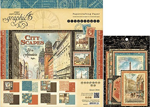 Vintage Gesso (Graphic 45 Cityscapes Double Sided 12x12 Inch Paper Pad and Epherema Cards Bundle - 2)