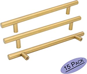 Goldenwarm 15pcs Brushed Brass Cabinet Cupboard Drawer Door Handle Pull Knob LS201GD192 for Furniture Kitchen Hardware 7-1/2in Hole Center 10in Overall Length