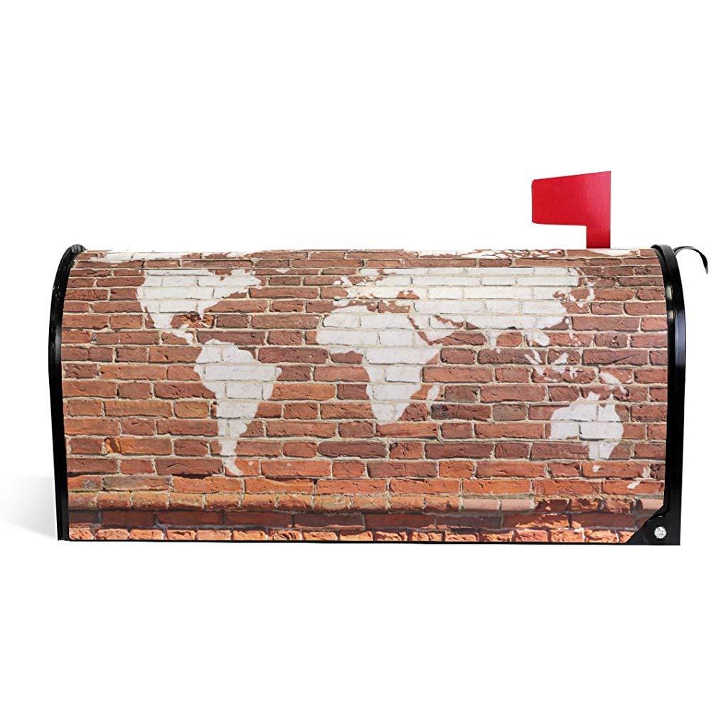 Buz/ón Cover,Antiguo Mapa Del Mundo De Ladrillo De Pared Graffiti Atrractive Cubiertas De Buzones Al Aire Libre Para El C/ésped Del Patio Trasero Del Hogar 45.8X52.6cm