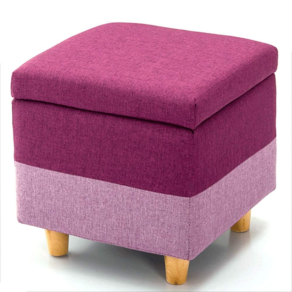 E Wei Zhe- Storage Stool - Solid Wood Cloth Storage Stool shoes Cabinet Door Cabinet Sofa Stool Living Room Bedroom with Anti-Slip mat Washable (6 colors) Household Storage Stool (color   D)