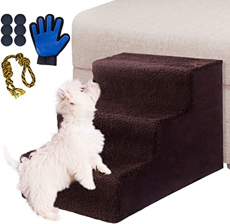 Masthome Escaleras para Perros de 3 Pasos,Rampa para Perro,Escalera de Cama para Gatos,Mascotas,Pequeño Animales,Con 6 Fondo antideslizante y un Guantes para mascotas y un juguete de cuerda para perro: Amazon.es: Productos para