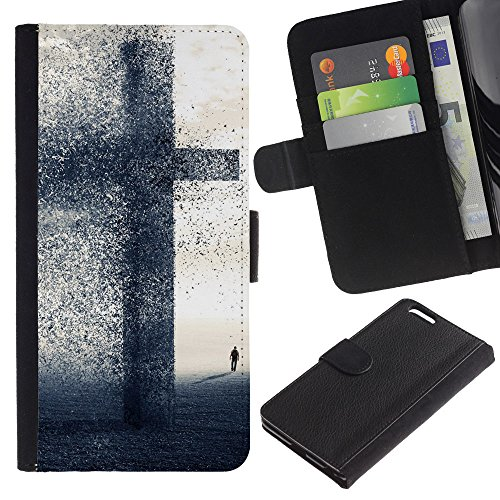 OMEGA Case / Apple Iphone 6 PLUS 5.5 / LET YOUR FAITH BE BIGGER THAN YOU FEAR / Cuir PU Portefeuille Coverture Shell Armure Coque Coq Cas Etui Housse Case Cover Wallet Credit Card
