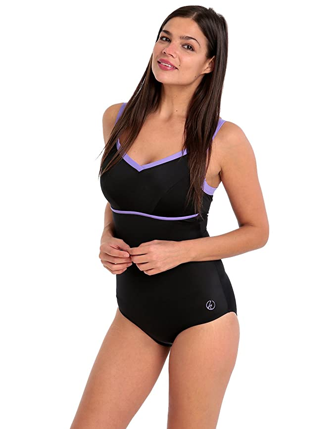 7f6c7837fb8f3 Halocline Nancy Longer Length Swimsuit - Black and Lilac UK Size 8 / Black:  Amazon.co.uk: Sports & Outdoors