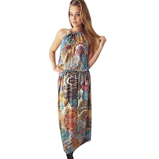 Remiel Store Womens Boho Floral Sleeveless Crew Neck Maxi Long Beach Dress (S)