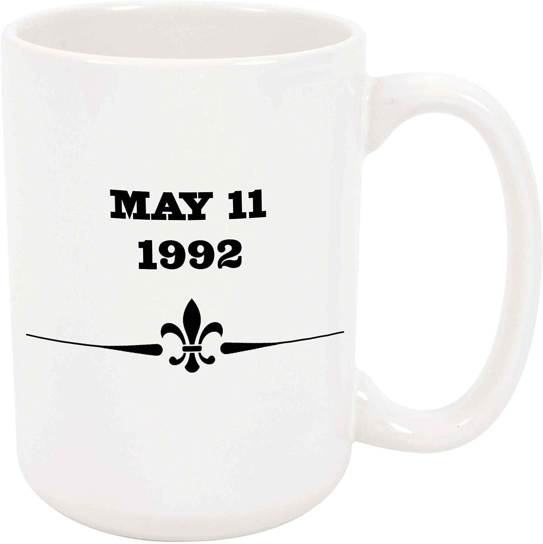 11 de mayo de 1992 Taza grande de café o té de 11 oz Fecha Regalo Cumpleaños Aniversario del amor Anuncio de nacimiento del bebé Presente
