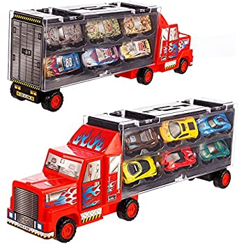 Transport Car Carrier Truck/diecast car Toy for Kids (includes 6 alloy cars,3 animal cars,3 number cars and traffic accessories) … (Red)