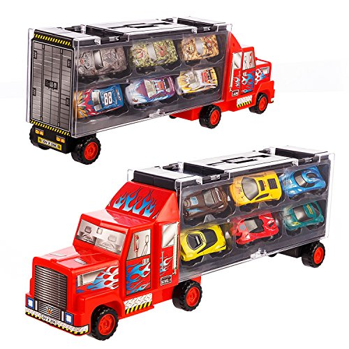 Transport Car Carrier Truck/diecast car Toy for Kids (includes 6 alloy cars,3 animal cars,3 number cars and traffic accessories) … (Red) (Car Toys For Kids)