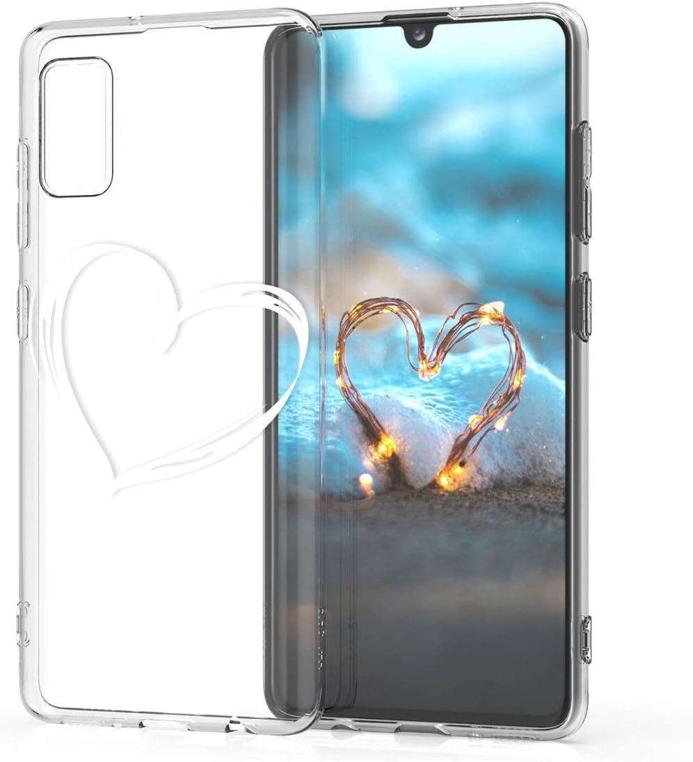 Carcasa de TPU y tri/ángulos en Rosa Claro//Oro Rosa//Blanco kwmobile Funda Compatible con Samsung Galaxy A41
