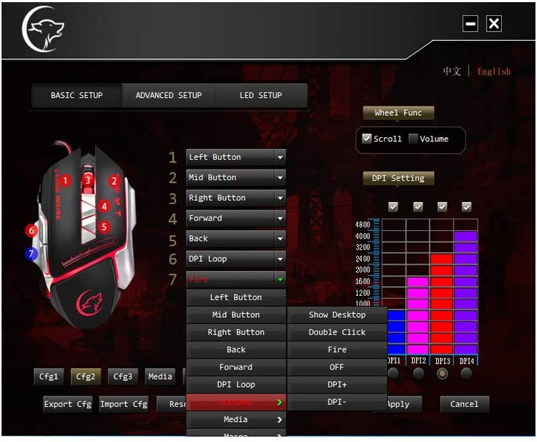 ForHe USB Wired Competitive Gaming Mouse 4800 DPI 7 Programmable Buttons Mechanical Macro Definition Programming Game Mice