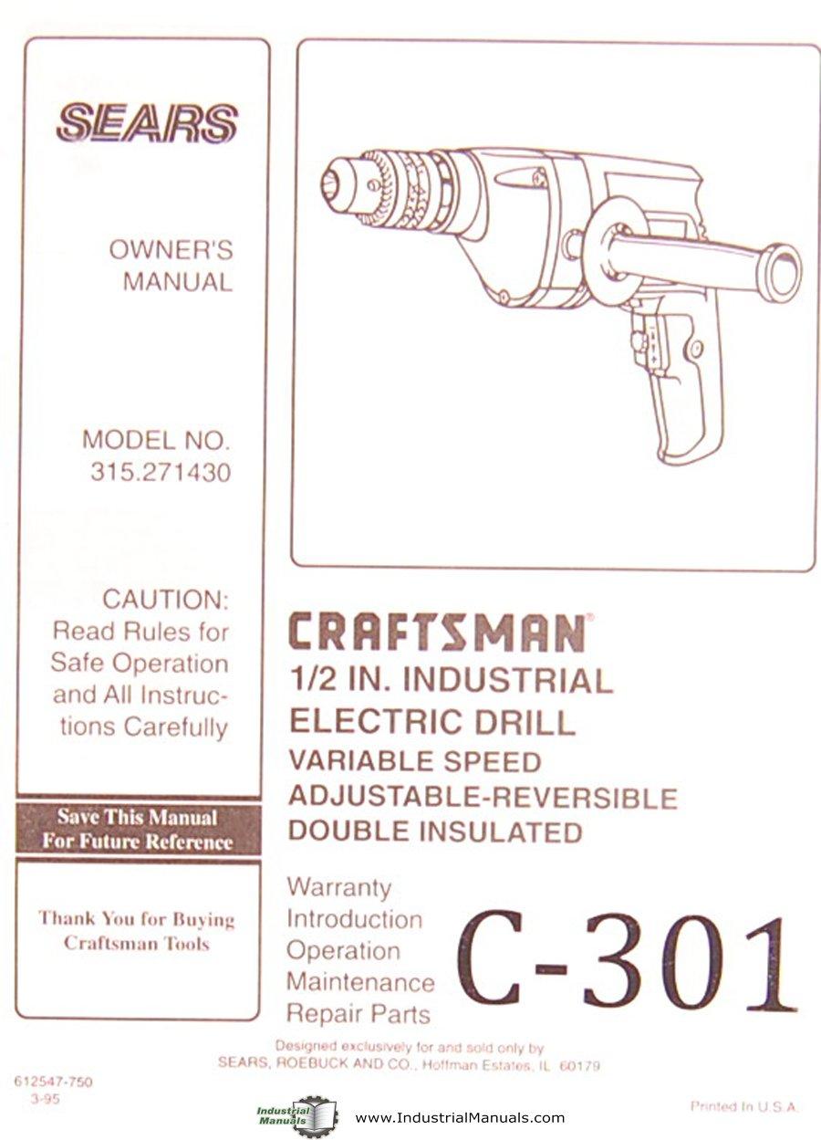 Craftsman 315 271430, Electric Drill, Operation Maintenance