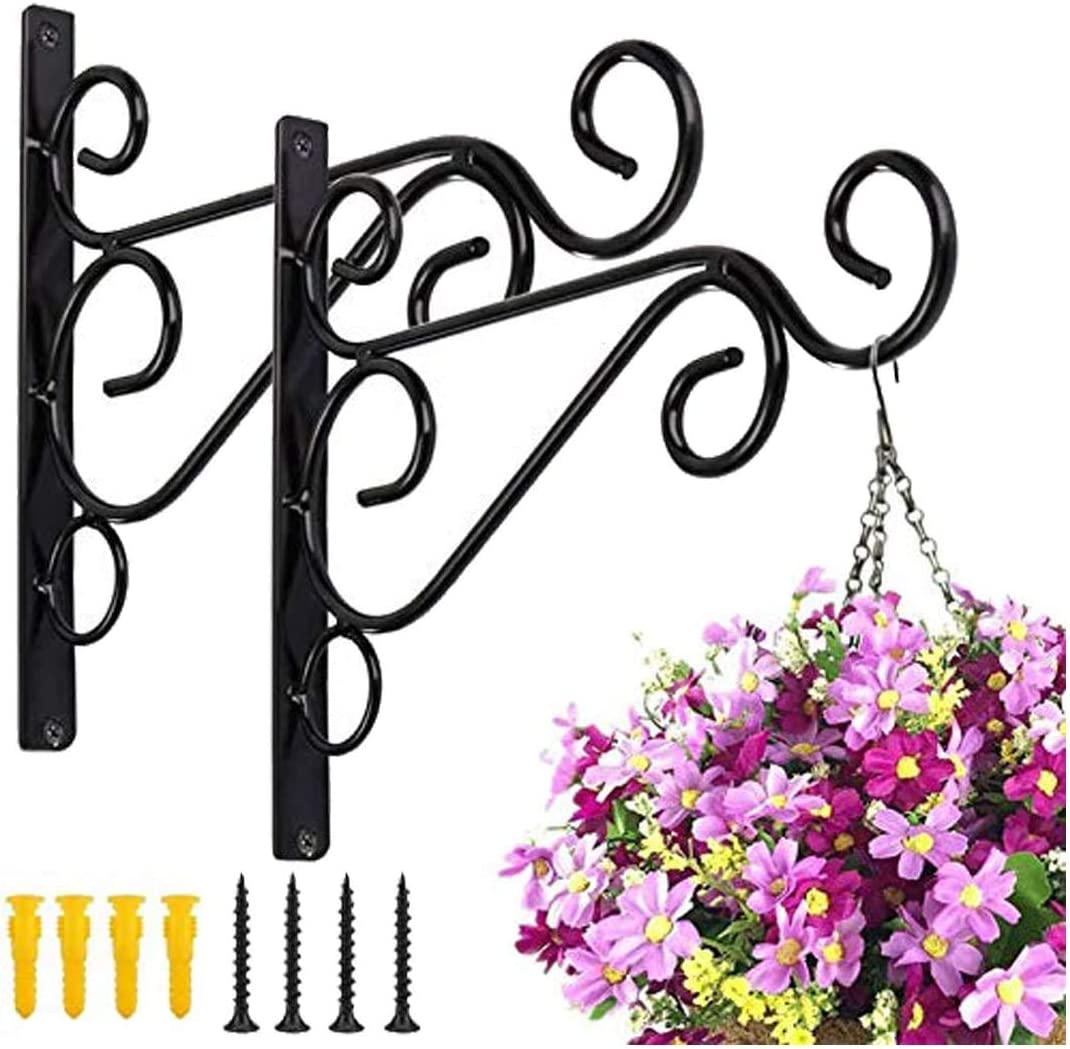 Plant Want Mount Hooks Plant Hanger Bracket Iron Alloy Metal Wall Décor Shepherds Hook Lantern Wall Hanger for Hanging Plants Outdoor, Bird feeders, Rustic Home Decoration (2 PACK)