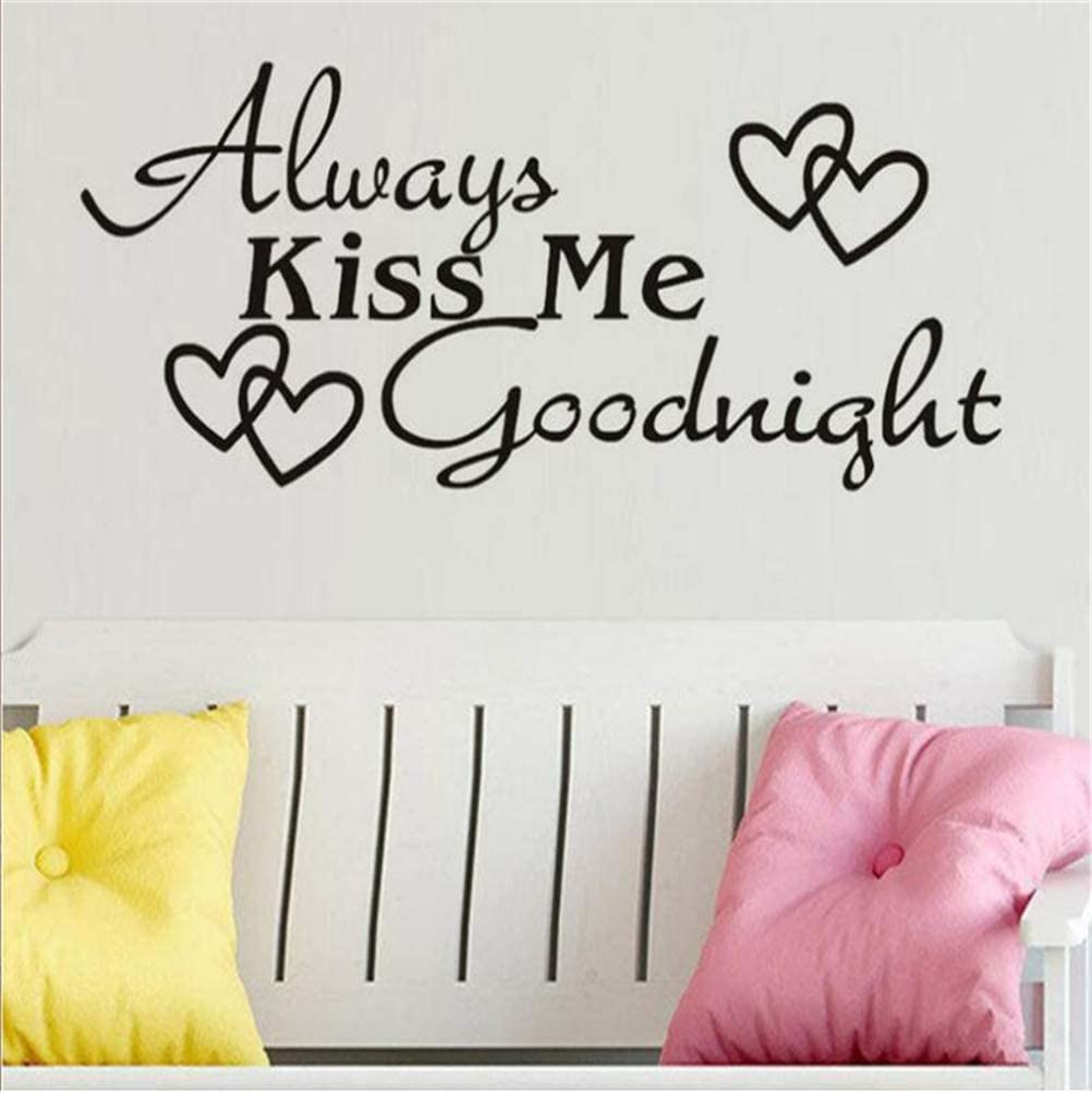 Wall Sticker Always Kiss Me Goodnight Sweet Letter Decal Quote Art Vinyl Decor Removable PVC Decoration for Home Bedroom