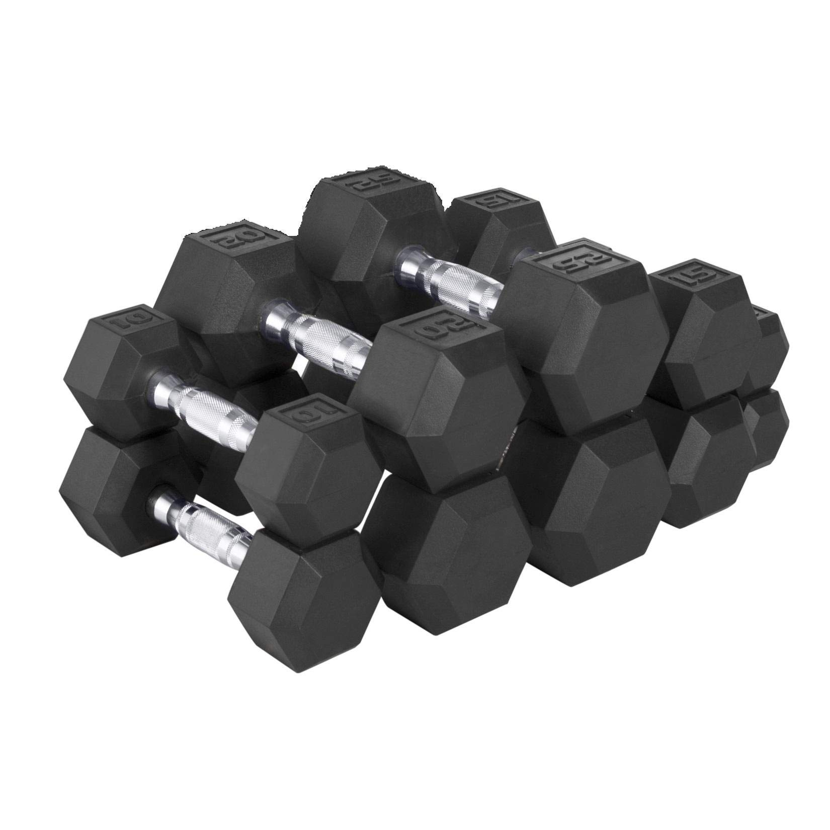 CAP Barbell 150-lb Rubber Hex Dumbbell Weight Set, Black, Large (SDRS-150-2), Large