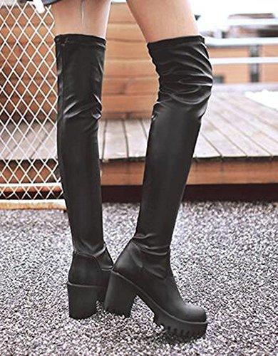 Chfso Womens Trendy Solide Ronde Neus Hoge Chunky Platform Boven De Knie Pull Op Ridderlaarzen Zwart