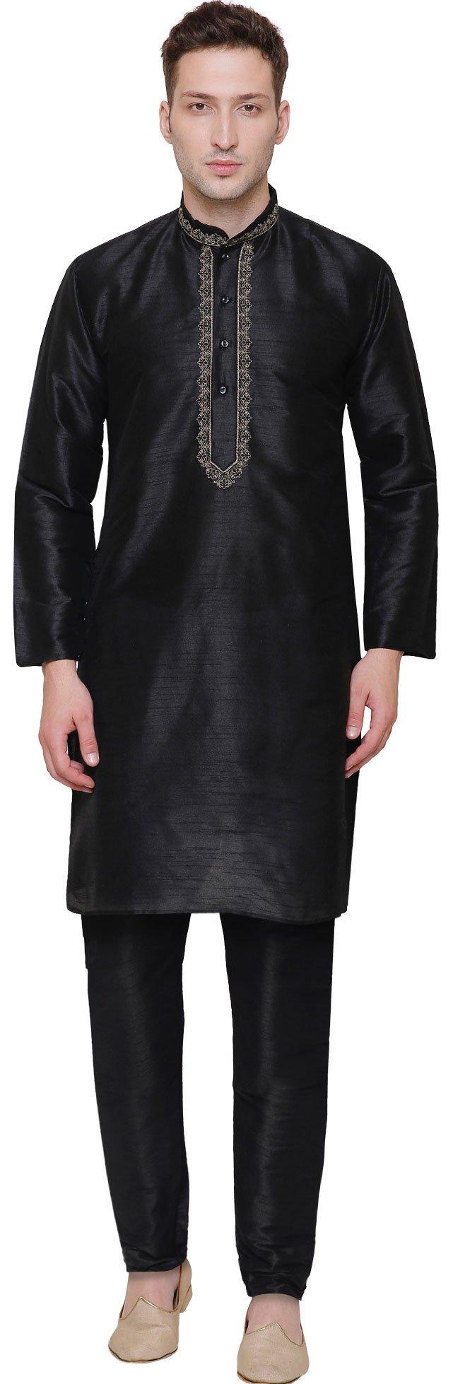 Party Wear Dupion Silk Mens Kurta Pajama India Clothing (Black, L)