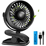 isuke Rechargeable Stroller Fan Lemoistar Clip Desk Fan Baby Stroller with Aroma Diffuser Function,Portable/USB Fan with 2200mAh Battery with 4 speeds for 360 Degree Rotation,
