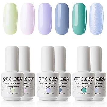 Amazon.com : Gellen UV LED Gel Nail Polish Set Fresh Jelly Colors ...