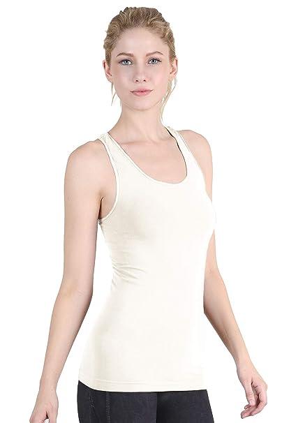 e4ecfa41d3047 Nikibiki Smooth RacerBack Tank Top, Ivory, One Size at Amazon Women's  Clothing store: