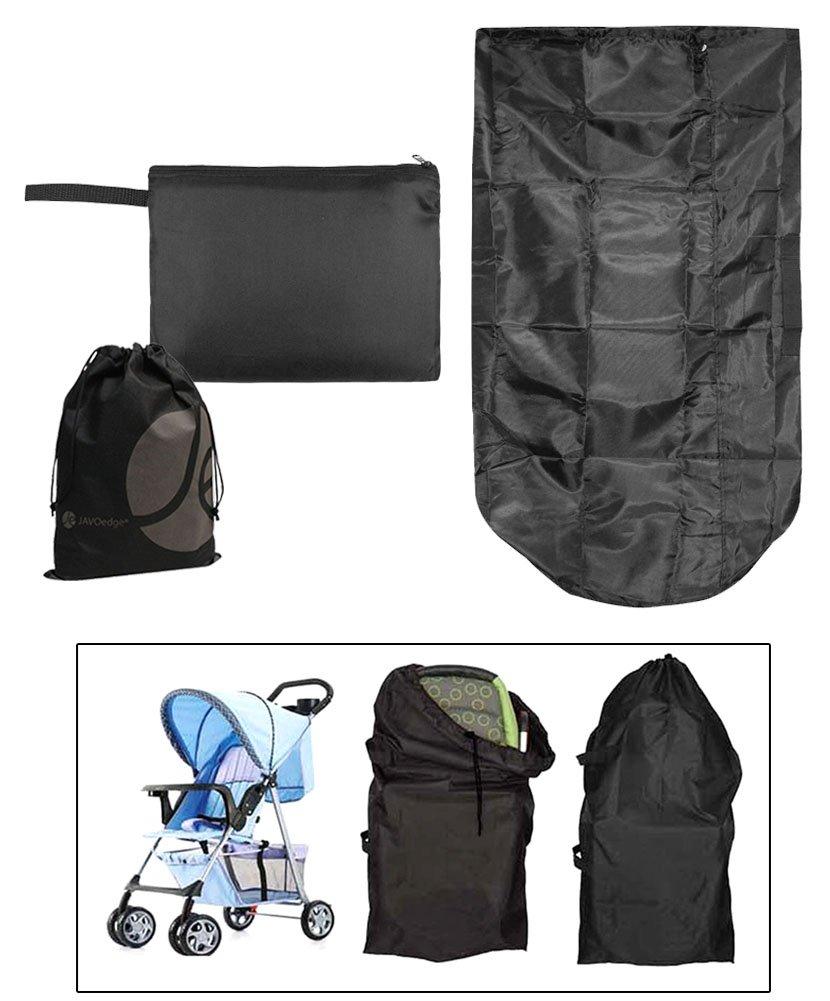 JAVOedge Black Folding Storage Stroller Bag, Stores down to a Wallet Size with Bonus Drawstring Bag