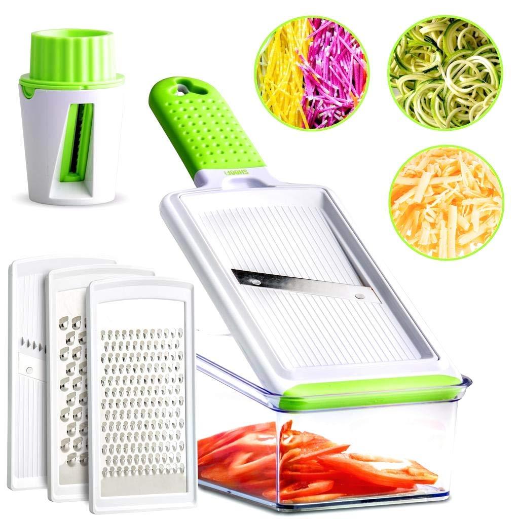 Mandoline Slicer - 5 Interchangeable Blades - Vegetable Slicer, Cheese Grater, Zester, Julienne Mandoline Slicer & Veggie Spiralizer by SHOOF