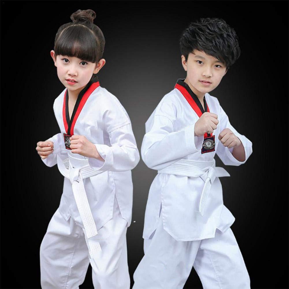 Traje de Artes Marciales Ropa de Taekwondo Traje De Karate Kimono de Artes Marciales Uniforme K/árate con Algod/ón Cuello en V Kimono Karate para Adulto y Ni/ño Color Blanco