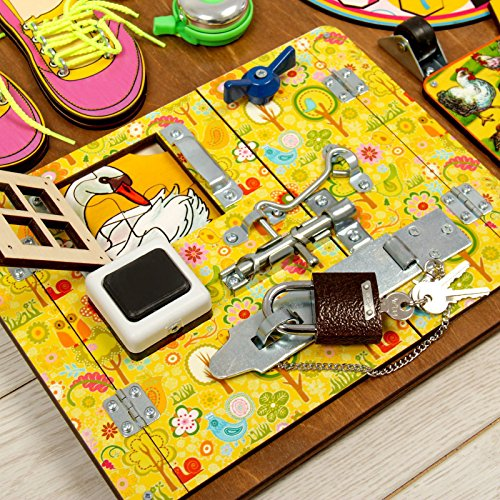 Wooden Activity Busy Board for Girls by Neskuchnye igry (Image #2)