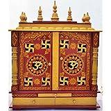 Home temple/Pooja Mandir/ Wooden temple/ Pooja Mandap/ With bulb INSIDE FREE POOJA ARTICLES GOD PHOTO FRAME, POOJA THALI