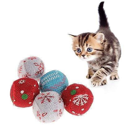 Yanhonin - Juego de 5 Juguetes de Hierba para Gato, Juguetes para Gatos, Almohada Creativa para rasguños, Gatos, trituración de Dientes
