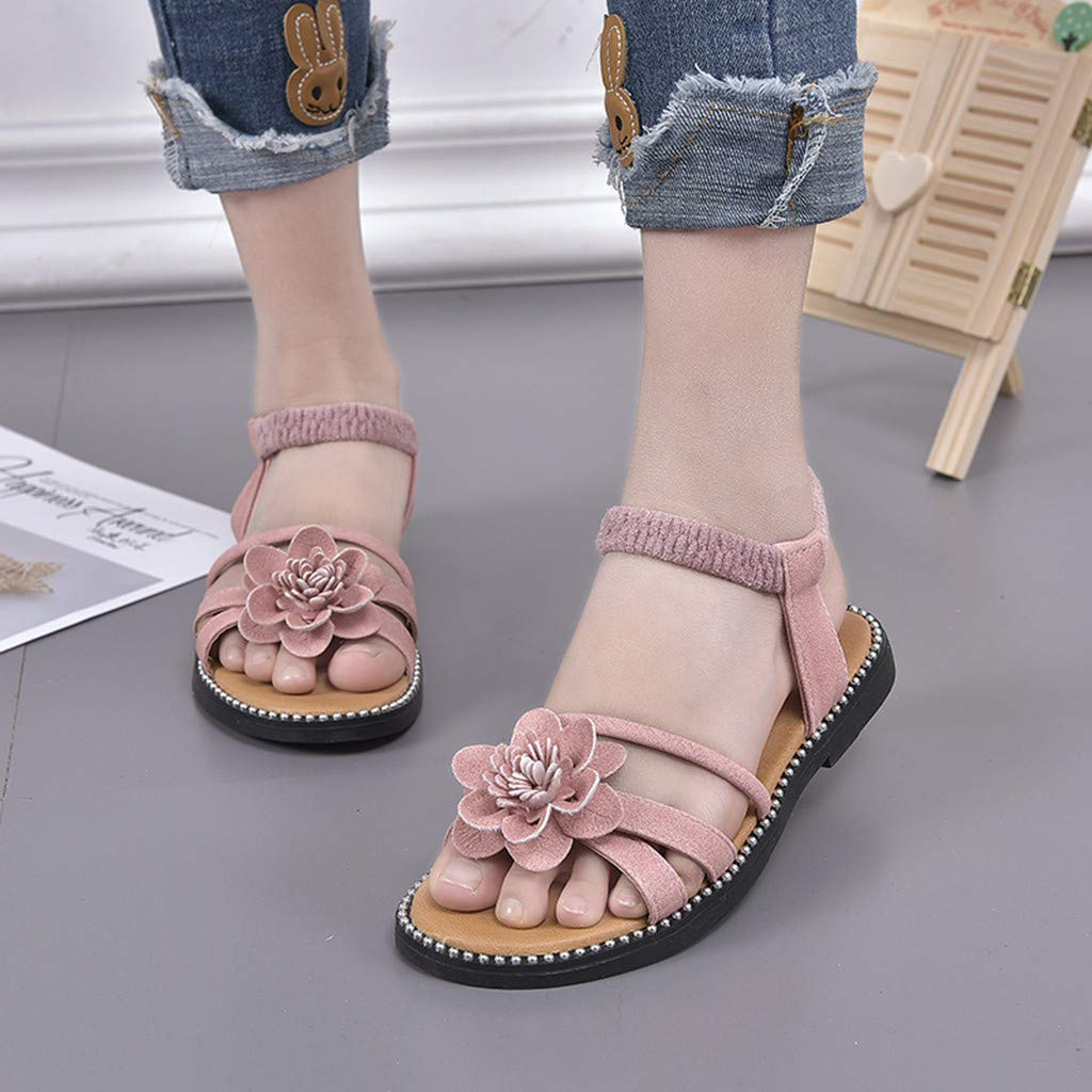 Shusuen Girls Genuine Leather Soft Closed Toe Princess Flat Shoes Summer Elastic Band Sandals
