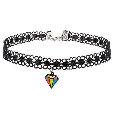 c7822d9fde62 Naisicatar Jewelry - Collar Colgante Collar RAS del Cuello Lace Fantasía  Collar de Cadena Joyas Collar Cadena para Hombre Mujer Collar con Colgante  ...