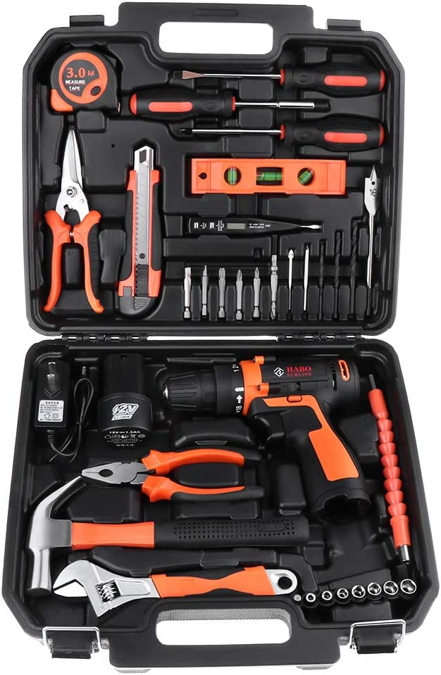 Miulika 12V Cordless Drill & Home Tool Kit 35 Piece Power Tools Kit General Household Repairing Mixed Tool Set with Drill Bits Sockets Screwdriver Hammer Toolbox Storage Case