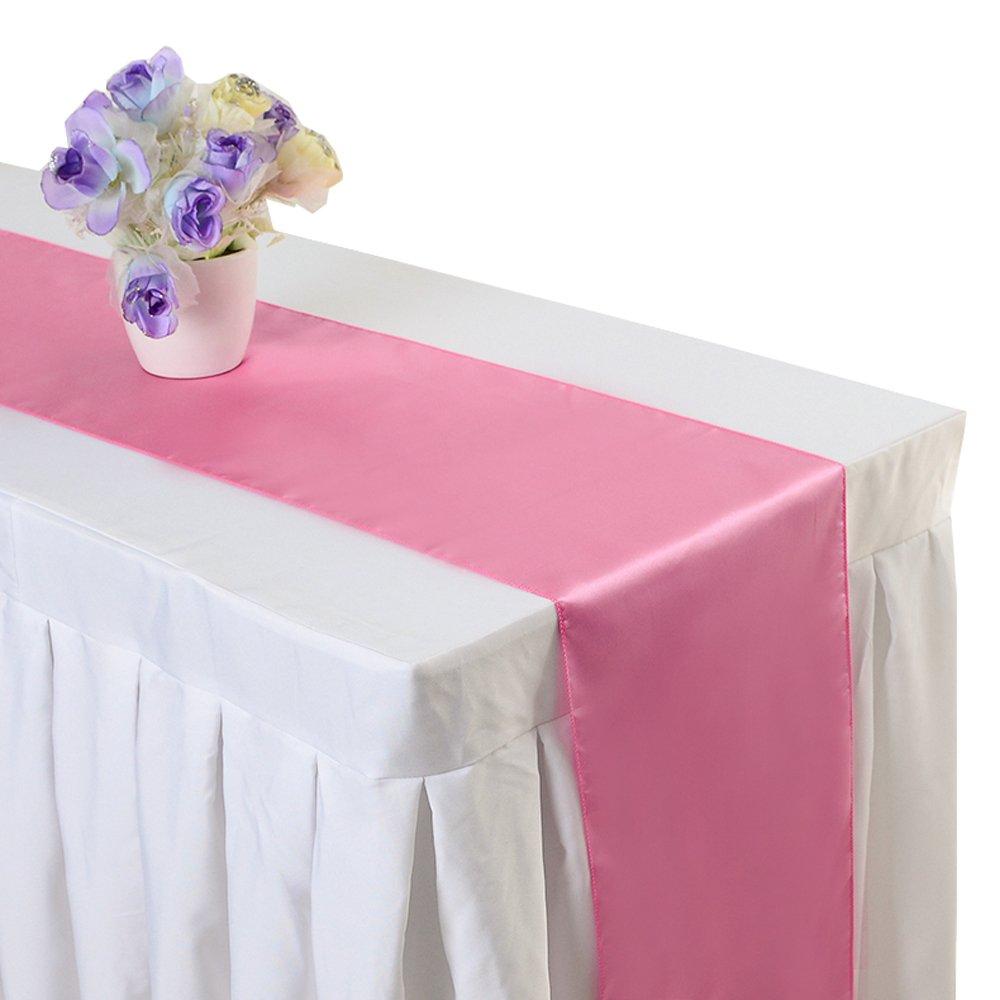Pink, 1 iEventStar Satin 12 x 108 Table Runner Wedding Banquet Party Decoration
