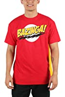 Big Bang Theory - Bazinga with Velcro Cape T-Shirt in Red/Yellow