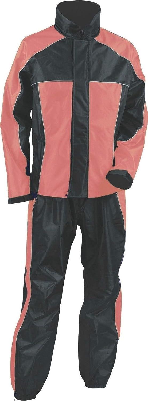Ladies Women's Motorcycle RAIN Suit RAIN Gear Pink/Black WATERPROF Lightweight (2XL Regular)