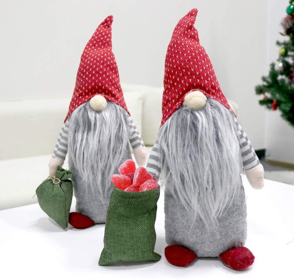 partyclub Swedish Christmas Gnome Carrying a Gift Pocket, Scandinavian Tomte Santa Elf Plush Doll for Christmas Table Fireplace Decorations Holiday Gifts (15inches)